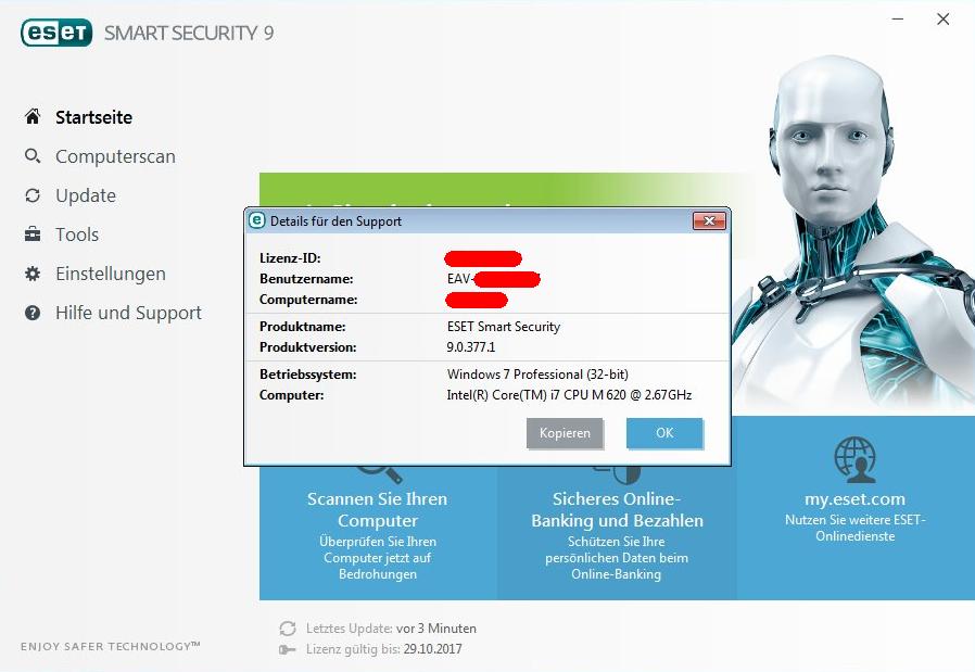 Anzeige des ESET Benutzernamen und der Public ID in der Eset Smart Security Version 9.