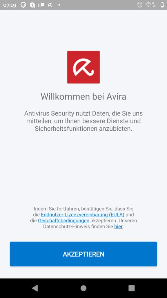 Avira Android Willkommensbildschirm