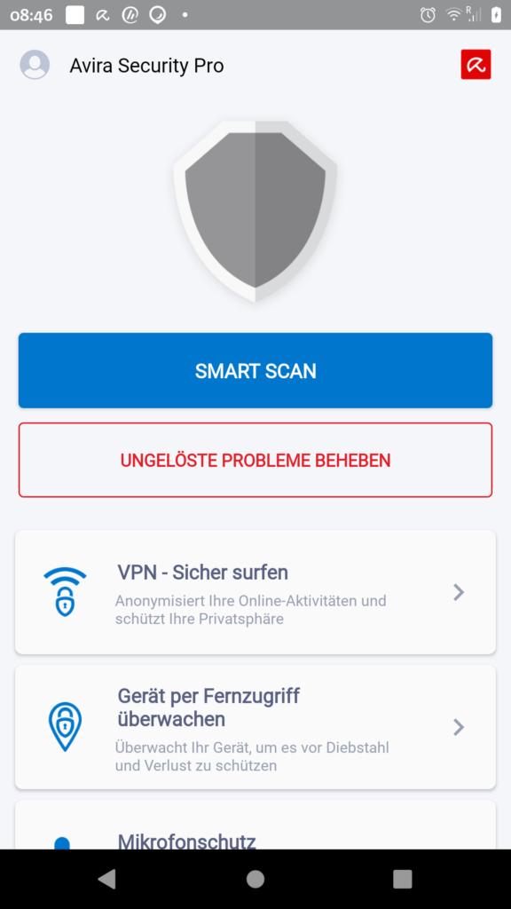 Avira Security Pro Startbildschirm