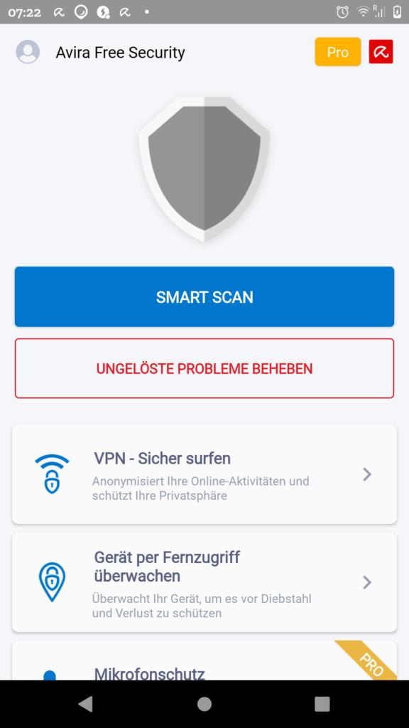 Avira Free Security Startbildschirm