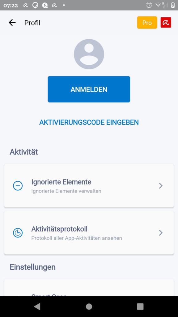 Avira Profil Anzeige